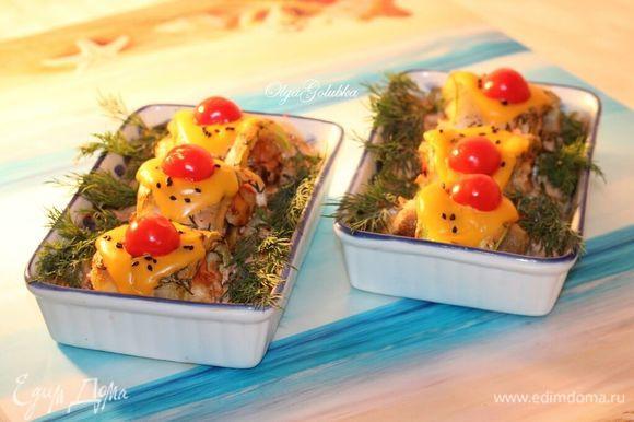 Готовое блюдо посыпаем рубленой зеленью и подаем.