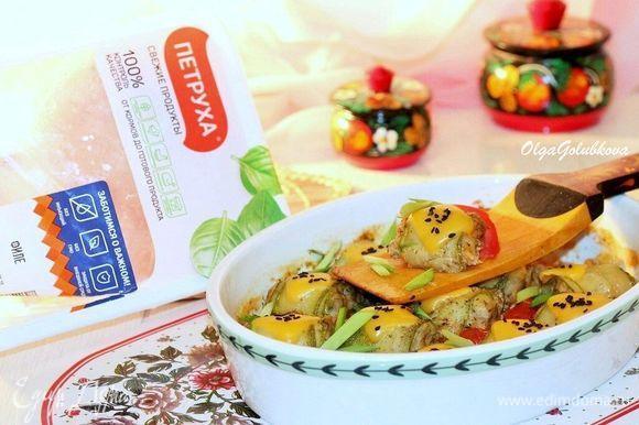 Приготовленное блюдо посыпаем измельченной зеленью и подаем. Приятного аппетита!