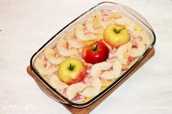 Затем повторяем слои, начиная от картофеля (шаг № 5). И в конце украшаем половинками яблок.