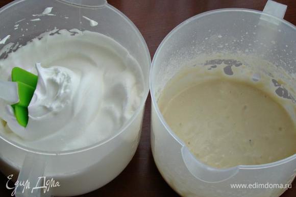 Затем нам необходимо приготовить тесто №2. Для этого в одной миске смешать молоко, половину сахарной пудры и растительное масло. Затем всыпать просеянную муку, щепотку ванилина и все еще раз тщательно перемешать. В другой миске взбить с щепоткой соли яичные белки в легкую пену. Затем, подсыпая в два-три приема сахарную пудру, взбить белки до устойчивых пиков.