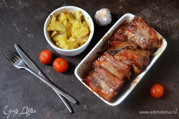 Свиные ребрышки с картошкой готовы! Приятного аппетита!