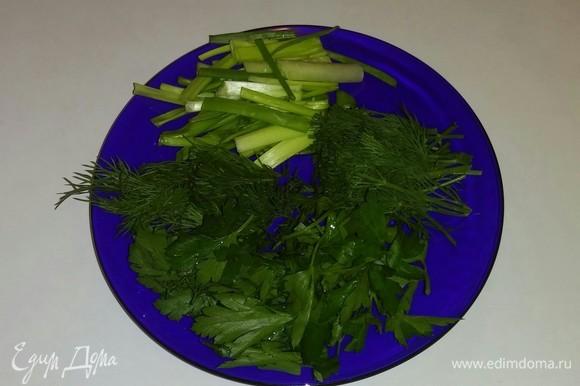 Зеленый лук, укроп, петрушку режем крупными частями.