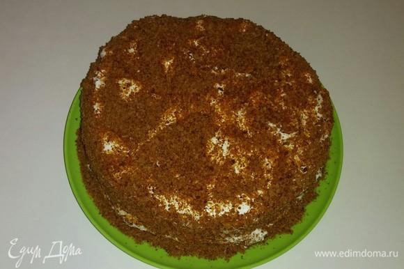Затем обильно посыпаем торт измельченной крошкой сверху и боковую часть. После чего ставим торт в холодильник на 10 часов для пропитки кремом. Я обычно делаю торт поздно вечером, чтобы он ночью стоял в холодильнике.