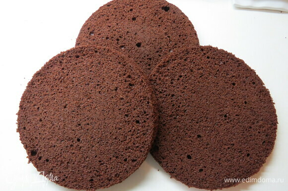 Остудить на решетке, аккуратно извлечь из кольца, обернуть пищевой пленкой и убрать в холодильник минимум на 12 часов. Перед сборкой торта выпеченное тесто разрезать на три равных коржа.