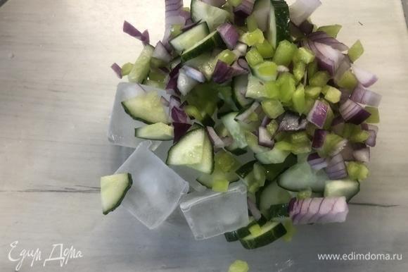 Нарезаем огурец, оставшийся болгарский перец и красный лук небольшими кубиками, выкладываем в емкость, где будем охлаждать суп с частью льда.