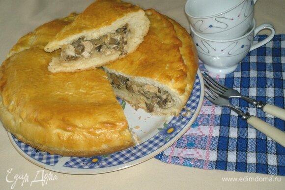 Разрезать на порции. Очень вкусно с чаем, молоком, кефиром или салатом из свежих или маринованных овощей. Угощайтесь! Приятного аппетита!