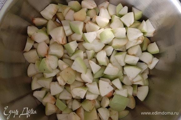 Удалить сердцевину из яблок, нарезать кубиками, добавить 4 ст. л. воды и варить до готовности.