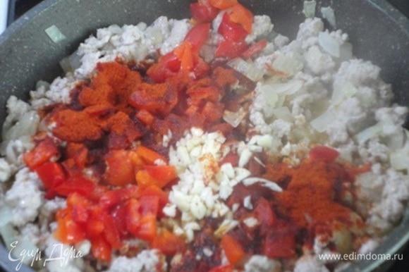 Теперь добавьте нарезанный кубиками болгарский перец, паприку и чеснок, хорошо перемешайте.