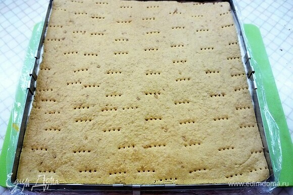 Сборка пирожных в квадратной форме 25 х 25 см. Вниз кладем первый медовый бисквит, на него наливаем немного абрикосового мусса, затем выкладываем абрикосовое компоте и равномерно распределяем, выливаем еще часть мусса. Далее поверх мусса кладем второй бисквит и выливаем на бисквит оставшийся мусс. Убираем в морозильную камеру на 8 часов, а лучше на ночь.