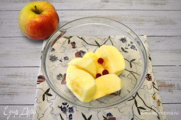 Яблоки очищаем и нарезаем на четвертинки. К яблокам добавляем ягоды клюквы или красной смородины и под крышкой отвариваем в микроволновой печи в течение 8–9 минут.