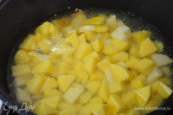Картофель нарежьте средними кубиками и выложите в сотейник к овощам, залейте горячей водой, добавьте лавровый лист, посолите, доведите до кипения.