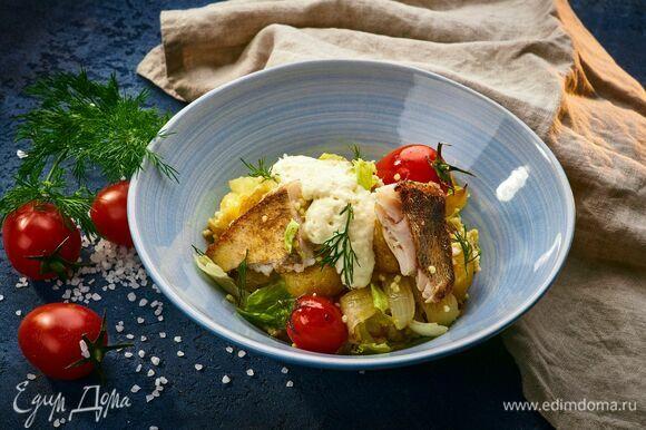 Подавайте с кремом из копченого сыра и рубленым укропом. Приятного аппетита!