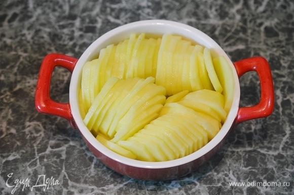 Выложите ломтики картофеля так, как показано на фото.