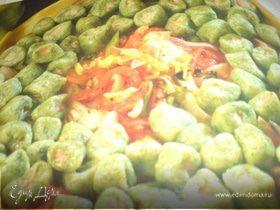 зелёные клёцки из лосося