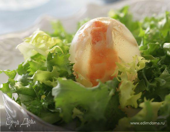 Мини-«аквариум» с морскими моллюсками и шпинатом