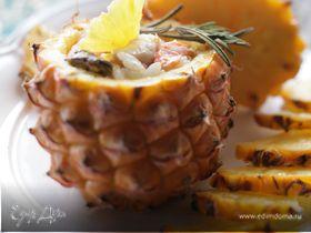 Мини-ананас, запеченный с рисом, куриным филе и морепродуктами