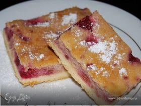 Творожный пирог (с малиной и манкой)