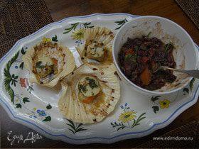 Морские гребешки с фасолью