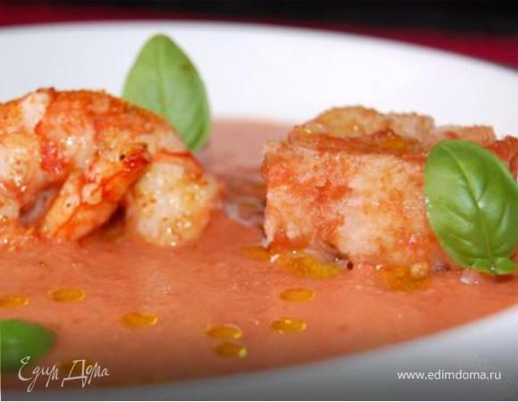 Суп из помидоров с креветками