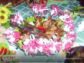Запеченные перепела с овощами