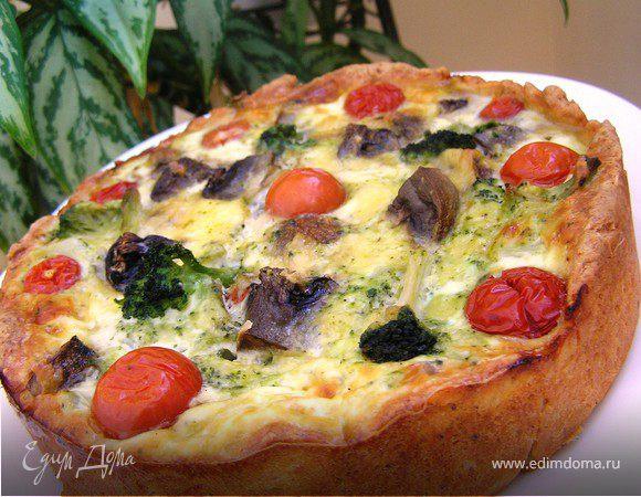 Пирог с брокколи и грибами