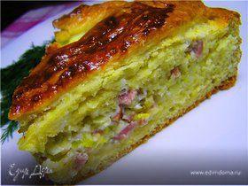 Пирог с луком-пореем и ветчиной (флэмиш)