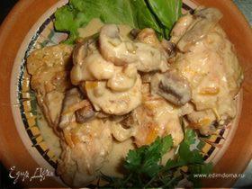 Куриные рулетики с грибами в сливочно -горчичном с
