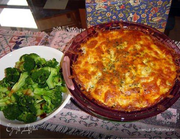 Запеканка с брокколи и сырным соусом