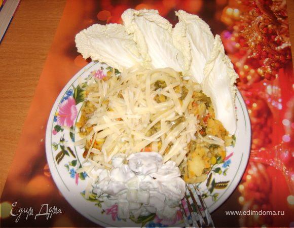 Салат с шампиньонами и цветной капустой