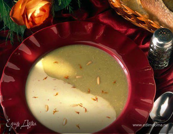 Суп-крем из спаржи с кедровыми орехами и шафраном