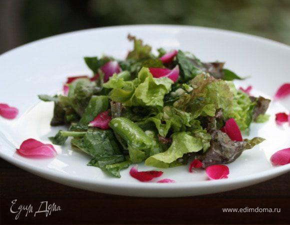 "Летний салат с лепестками роз ""Травинка"""