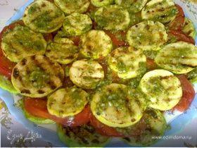 Кабачки и помидоры - гриль с соусом песто