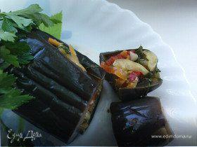 Солёные баклажаны с овощами