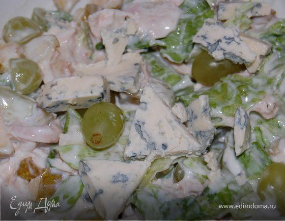 """Салат """"Фантазия"""" из курицы с фруктами и сыром"""