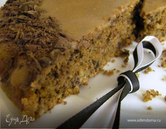 Кофейно - ореховый пирог с глазурью