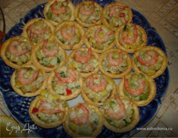 Салатик из креветок в тарталетках
