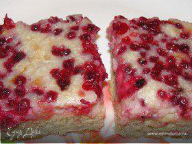 Брусничный пирог в заливке