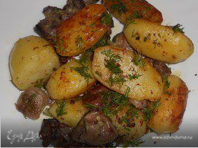 Жаркое из картофеля и куриных желудков
