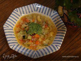 Овощной итальянский суп с песто