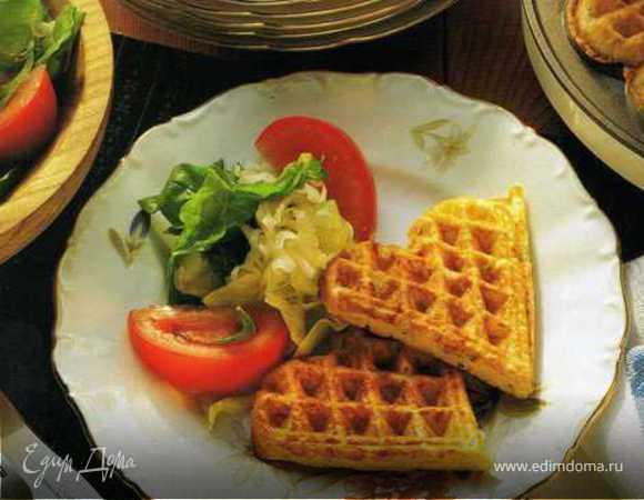 Сырные вафли с салатом