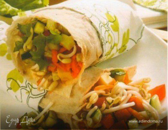 Лаваш со свежими овощами