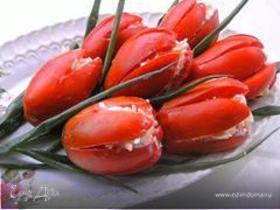 Тюльпаны из фаршированных томатов