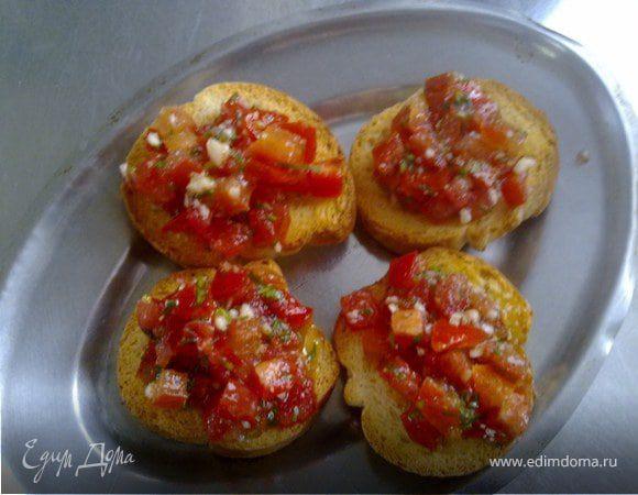"""Закуска """"Сухари с помидорами"""""""