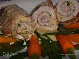 Рулеты из свинины с горчицей и петрушкой