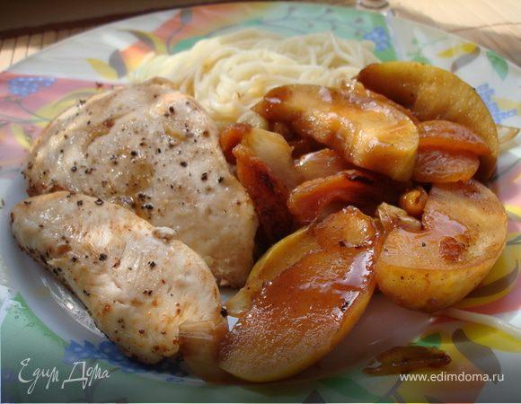 Куриная грудка с яблоками пошаговый кулинарный рецепт с фото на