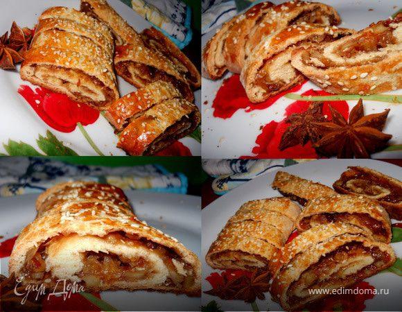 Мандариново-ореховый рулет