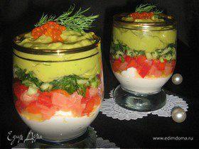 Verrines с сёмгой, сырным кремом и кремом из авокадо