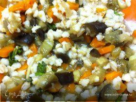 Салат из баклажанов и перловки