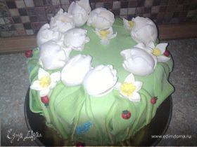 "Торт ""Цветы, травичка и букашки"""