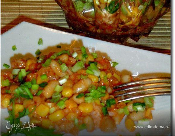 Салат с рисом, фасолью и кукурузой